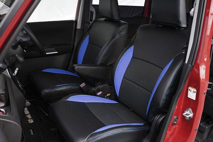 Auto wear オートウェア シートカバー ソリオ専用デザイン ブラック + 青色 ソリオ MA36S 2015年09月〜現行 HYBRID MX / MZ / SX / SZ