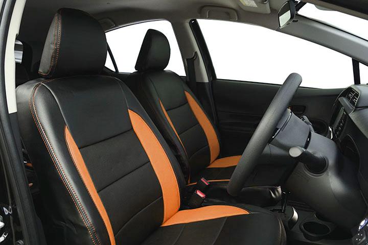 Auto wear オートウェア シートカバー アクア専用デザイン ブラック + オレンジ アクア NHP10 2011年12月〜 G / S / X-URBAN