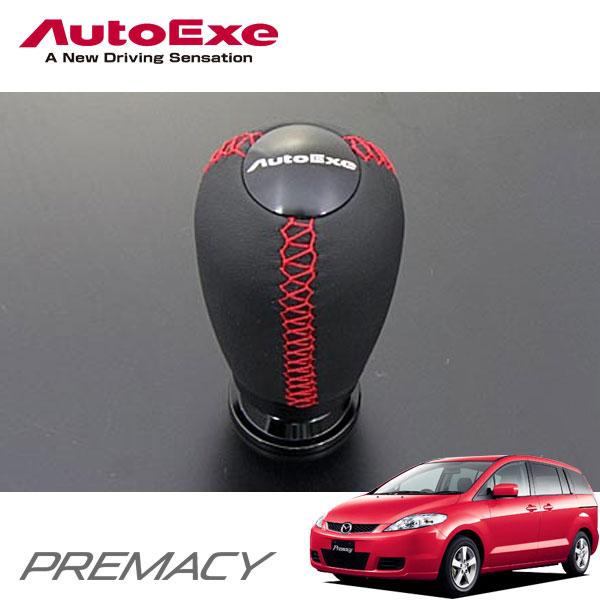[AutoExe] オートエクゼ レザーシフトノブ (本革) レッドステッチ プレマシー CREW CR3W CREW AT(ゲート式)車