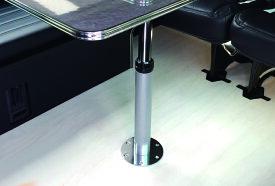 レガンス LEGANCE 昇降式テーブルポールキット クロームorブラック床皿付属 (※テーブルポールと床皿の2点セット) 汎用 200系ハイエース キャンピング 車中泊