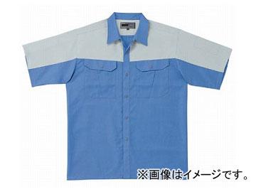 ラカン 半袖シャツ(ツートン) ライトブルー×シルバー 4L 5213