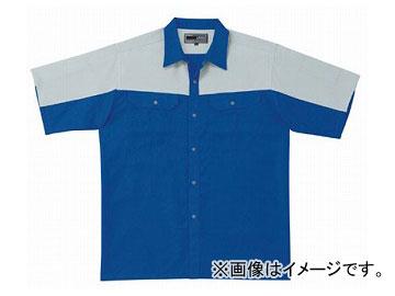 ラカン 半袖シャツ(ツートン) ブルー×シルバー Big 5213