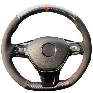 AL ステアリングホイールカバー 編み上げタイプ ブラックスウェード カーボンファイバー 適用: フォルクスワーゲン VW ゴルフ 7 MK7 ポロ ジェッタ パサート B8 ティグアン シャラン トゥーラン
