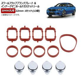 AP スワールフラップブランクプレート&インテークマニホールドガスケットシール シルバー 22mm BMW汎用 AP-4T074-22MM-4P-G 入数:1セット(13個)