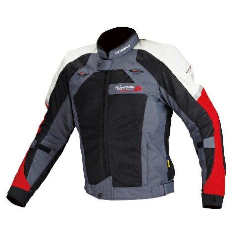コミネ(KOMINE) JJ-002 エアストリームメッシュジャケット Black/Red Lサイズ