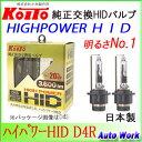 小糸製作所 KOITO 純正交換HIDバルブ ハイパワーHID D4R専用4200ケルビン 3200lm P35180 1年保証