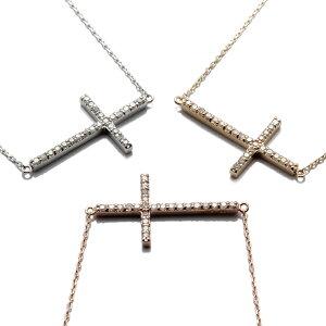 ダイヤモンド 10K イエローゴールド/ローズゴールド/ホワイトゴールドサイドクロスネックレス(41cm)0.12ct TDA0019J-31 SJ19 XJ19 LSJ20