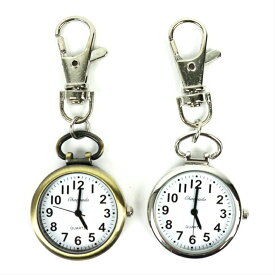 (黒色針)キーチェーンウォッチ小さな時計 フックウォッチ キーウォッチ ハングウォッチ キーホルダーウォッチ バッグチャーム 懐中時計 ポケットウォッチ ナースウォッチ キーホルダー シンプル おしゃれ ゴールド シルバー