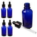 スポイト遮光瓶30ml5本セットガラス製手作りアロマ・香水保存容器(ブルー)