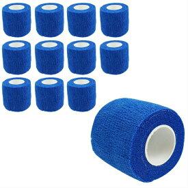 自己粘着性 伸縮包帯 弾性包帯 5cm x 4.5m テーピング 蒸れにくい 手で切れる ブルー 青 12巻セット