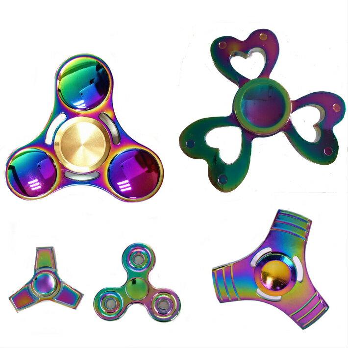 ハンドスピナー Handspinner金属製 虹色 カラフル Vacuum plating color 送料無料 玩具 指スピナー レインボー オーロラ カラフル ストレス解消グッズ