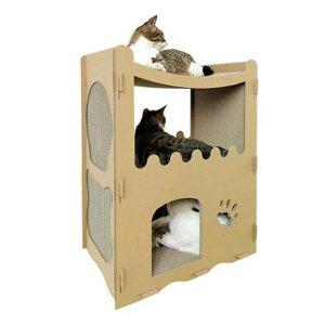 猫 爪とぎ段ボールハウス 洋房 キャットハウス 組み立て式