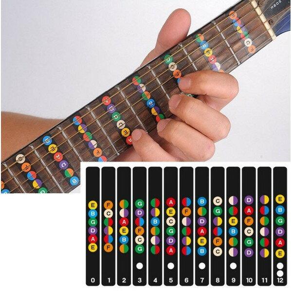 ギターフレット 指位置を覚える ギター 初心者 練習 用 音名 配置 指板 シール セット