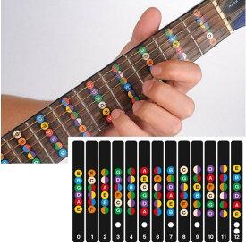 【エントリーしてポイント5倍1/24(金)20:00〜1/28(金)01:59まで】 ギターフレット 指位置を覚える ギター 初心者 練習 用 音名 配置 指板 シール セット
