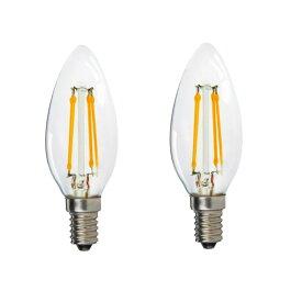 【2本セット】LED フィラメント シャンデリア電球 E12 / E14 / E17 / E26 4w 調光対応(40W相当)キャンドル電球