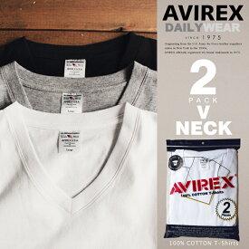 AVIREX 公式通販・DAILY WEAR | |パックTシャツ 2枚入り ホワイト ブラック グレー VネックDAILY 2 PACK V NECK TEE