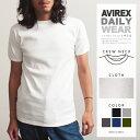 AVIREX 公式通販・DAILY WEAR | 伸縮性 丈夫 デイリー クルーネック 無地 リブ 半袖 Tシャツ カットソーS/S CREW NECK T-SHIRT(アビレックス/アヴィレックス)(6143502/617352) 伸び縮み 長持ち インナー 肌着 丸首 デイリーウェア 厚手