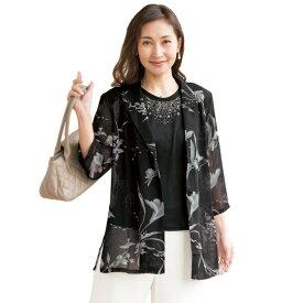 【レディースファッション】メッシュ素材プリントジャケットアンサンブル ST2074-80115▼レディース ジャケット トップス