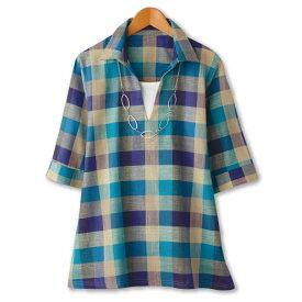 【レディースファッション】スキッパーチェックシャツ KN-222-80072 ▼春夏 トップス ミセス 婦人服