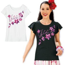 【フラダンス衣装】ロゴフラワーTシャツ TK2839-3268 ▼フラTシャツ ステージ衣装