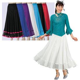 【ダンス衣装】サテンテープ使いメッシュスカート 80cm丈 KN-080-3352▼レディース スカート ロングスカート カラースカート