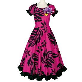 【フラダンスドレス】リーフプリントドレス ピンク系 OP375-3457▼ハワイアン ドレス フラドレス