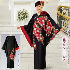 【ロングドレス】花プリントドレス OP416-3506▼和風ドレス マキシ丈ドレス ステージ衣装 イベント 衣装