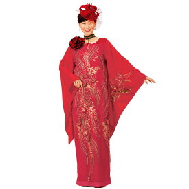 【ロングドレス】スパンコール花モチーフドレス 赤 OP414-3514▼カラードレス カラオケ衣装