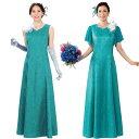 【カラードレス】袖取り外しジャカードドレス エメラルドグリーン OP360-1-3375▼ステージ衣装 発表会 演奏会