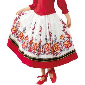 【フォークダンス衣装】花刺繍スカート白系 SK588-3589▼フォークロア レクダンス