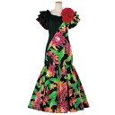 【フラダンス衣装】黒配色ドレス OP446-3599▼フラダンス ロングドレス ワンピース