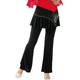【ダンス衣装】スカート付きパンツ(流線柄)KN-238-3601▼ダンス衣装 レッスンウエア ストレッチ素材