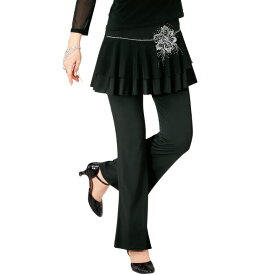 【ダンス衣装】スカート付きパンツ(花柄)KN-239-3602▼ダンス衣装 レッスンウエア ストレッチ素材