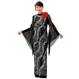 【ロングドレス】細見せスパンコール花刺繍ドレス OP449-3615▼カラオケ ステージ衣装