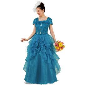 【ロングドレス】ファー付きレース使いドレス KS-OP049-3625▼カラードレス ステージ 衣装 レース