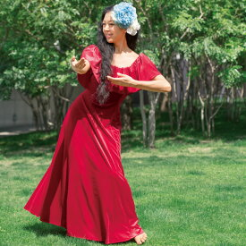 【フラダンス衣装】nobleシリーズ ベロア胸元フリルドレス レッド OP398-3500▼フラダンス ロングドレス ワンピース