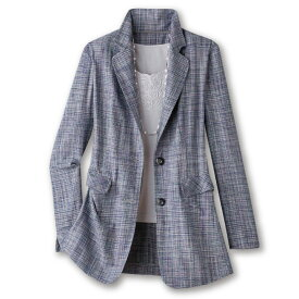 【レディースファッション】シルク混かすり調テーラードジャケット JK917-2-15-8873▼アウター ジャケット 婦人服