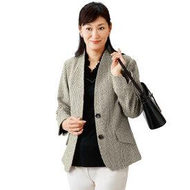 【レディースファッション】シルクノイル混衿デザインジャケット JK999-2-8961▼アウター 春物 秋物 長袖 絹 立ち衿 ジャケット 白 黒 モノトーン