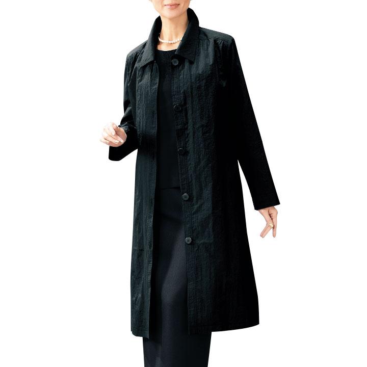 【レディースコート】多機能フォーマルコート CT223-1(15)-8478▼ステンカラ—コート ブラック 春 秋コート
