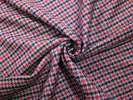 【送料無料】イギリス輸入生地 カシミア 3-24 150x120cm グレー地に赤とブルー系の千鳥格子柄