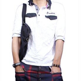 ボーリングシャツ メンズ ポロシャツ シャツ 刺繍 シワ加工 チェック切替 半袖ポロシャツ 黒 ブラック 白 青緑 ピンク 母の日 福袋 半額クーポンも配布 2020