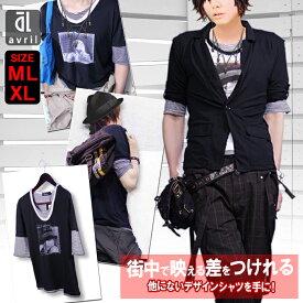 【半額50%OFFクーポンあり】 Tシャツ メンズ 半袖 長袖 ボーダー Uネック サロン系 2枚重ね着 人気 5分袖 ボーダー ガールズプリント フェイクレイヤード カットソー 半袖Tシャツ Tシャツ BLACK(黒) WHITE(白) GRAY(灰色)