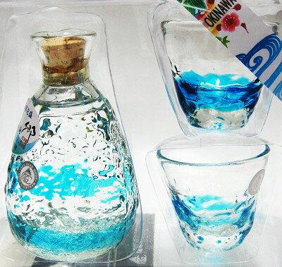 瑠璃の郷(水色)泡盛 25度180ml・トックリ・ぐいのみ2個セット【琉球泡盛_CPN】【泡盛ギフト】【泡盛】【ご贈答】