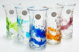 琉球ガラス デコボコひとくちビアグラス(各色):琉球ガラス村 P15Aug15 お中元