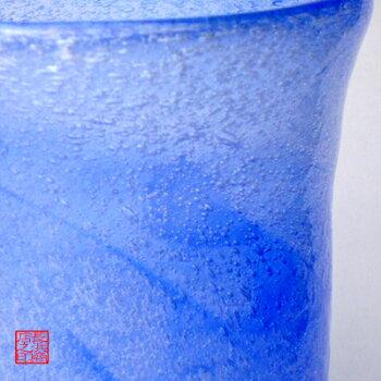 琉球ガラス(琉球グラスギフト)マーブルタンブラー青
