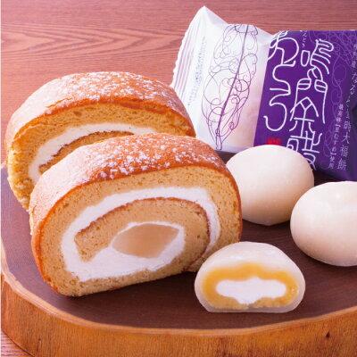 鳴門金時大福和三盆ロールクリーム大福とロールケーキのセット