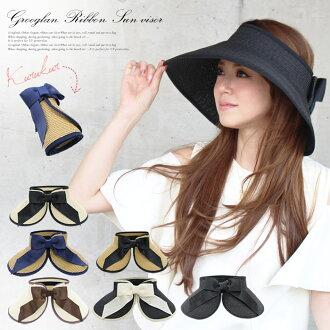 Grosgrain ribbon sun visor hat straw hat ultraviolet rays broad-brimmed folding uv Lady's summer straw paper paper hat hat Kobe