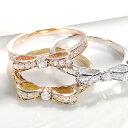 K18WG/YG/PG 【0.20ct】ダイヤモンド リボン リング指輪 リング ピンクゴールド イエローゴールド ホワイトゴールド ダイヤ りぼんダイア K18 4月誕生石 ギフト プレゼント ホワイトデー 0.2ct ピンキー