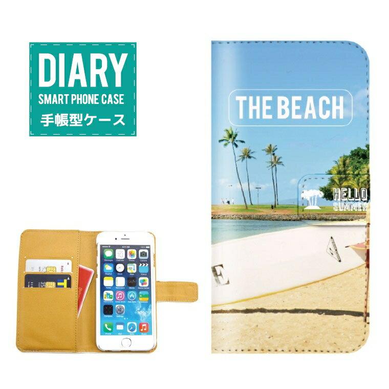 GALAXY A8 SCV32ケース 手帳型 (L) 送料無料 THE BEACH ビーチ デザイン 海 ワード デザイン グレー ブルー イエロー ベージュ パイナップル バナナ オレンジ
