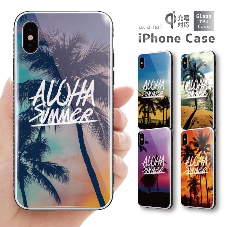 ガラスケース iPhone iPhone8 ケース iPhone XS ケース iPhone XR ケース TPUケース スマホケース ガラス 強化ガラス 背面ガラス 耐衝撃 おしゃれ 海外 トレンド ALOHA SUMMER LOVE デザイン サマー ラブ ハワイアン ヤシの木